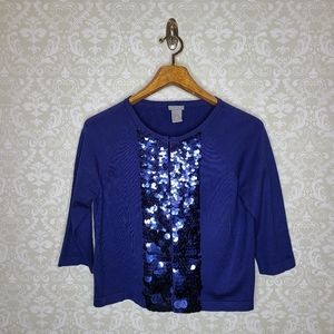 Ann Taylor Blue Sequined Cardigan.
